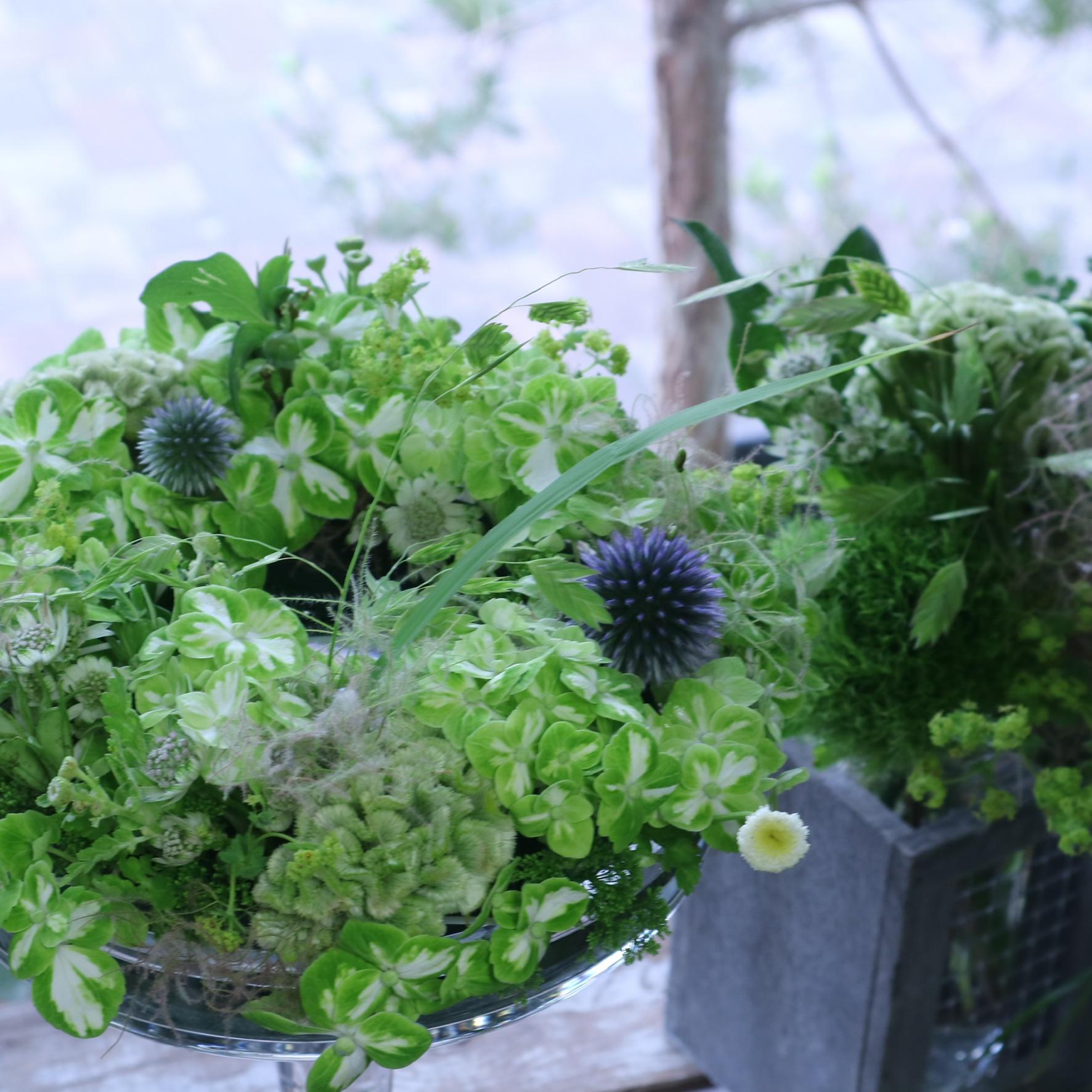 グラスボールリースアレンジメント 色味:ホワイトグリーンで爽やかに季節のお花でおまかせ の参考画像です